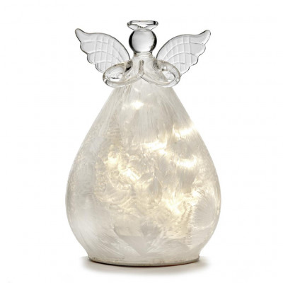 Glas LED Dekor Engel 15 cm Frost