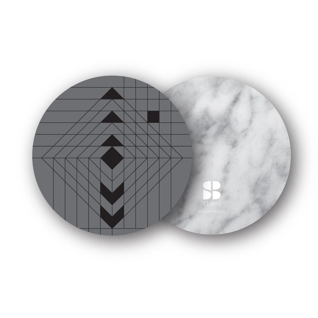 2er-Set Untersetzer | Navajo Grau/Weißer Marmor
