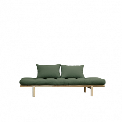 Daybed Pace | Natural Frame & Olive Green Mattress