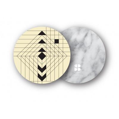 2er Set Untersetzer | Navajo Gelb/Weißer Marmor
