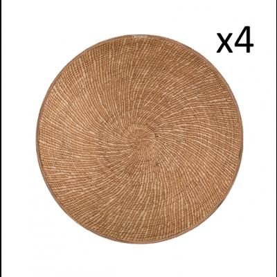Rundes Vinyl-Platzhalter-Schilfrohrsatz 4er-Set