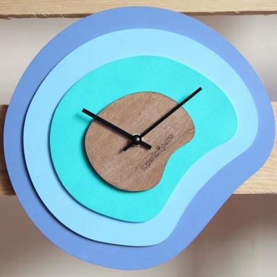 Palettenuhr | Holz/Blau