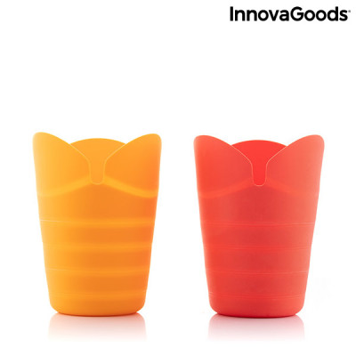 Zusammenklappbare Silikon Popcorn Poppers Popbox | Rot orange