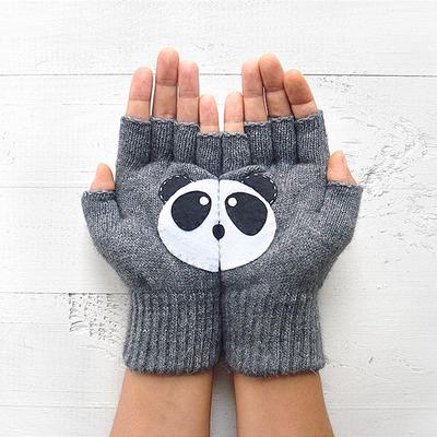 Handschuhe ohne Fingerspitzen Panda   Grau