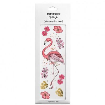 Gold Metallic & Colour Tattoo   Flamingo