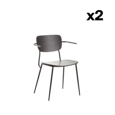2er-Set Stühle mit Armlehne Pavia   Mattschwarz
