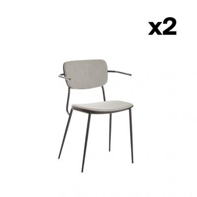 2er-Set Stühle mit Armlehne Pavia   Grau Mattschwarz
