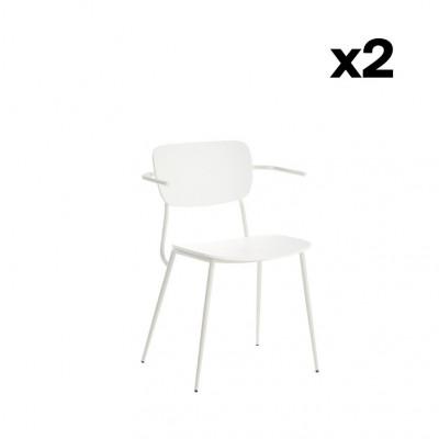 2er-Set Stühle mit Armlehne Pavia | Mattweiß