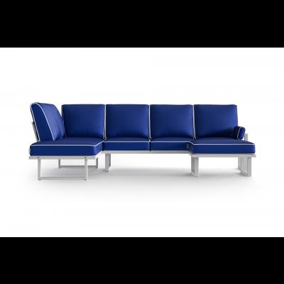Eck-Gartensofa Modular mit Abnehmbarem Hocker Angie | Blau