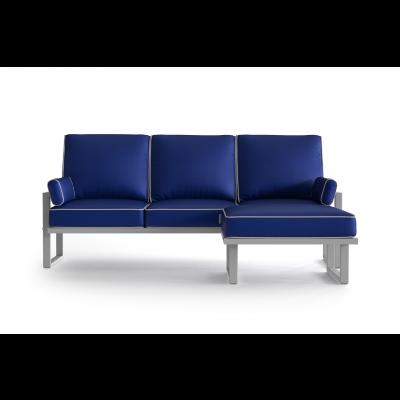 Eck-Gartensofa mit Abnehmbarem Hocker   Blau
