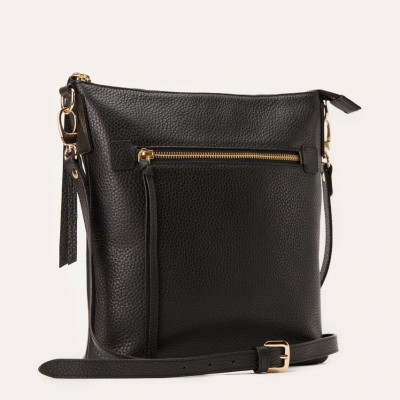 Leather Bag Pebble Crossbody | Black
