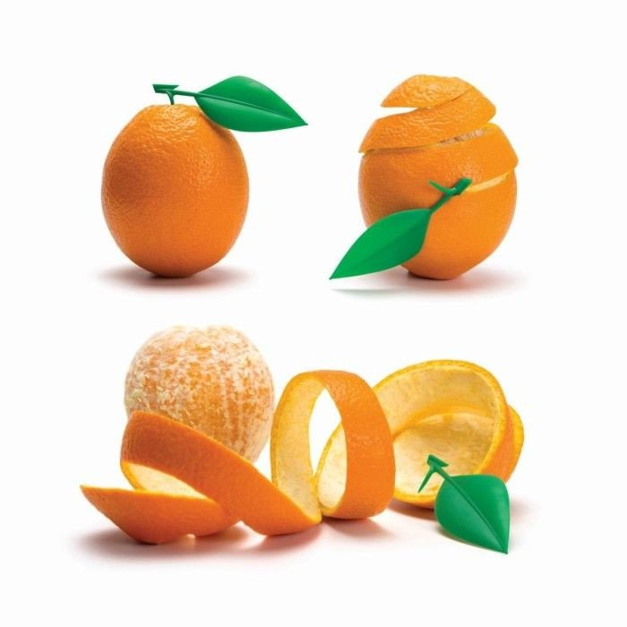Orangenschäler mit Appell