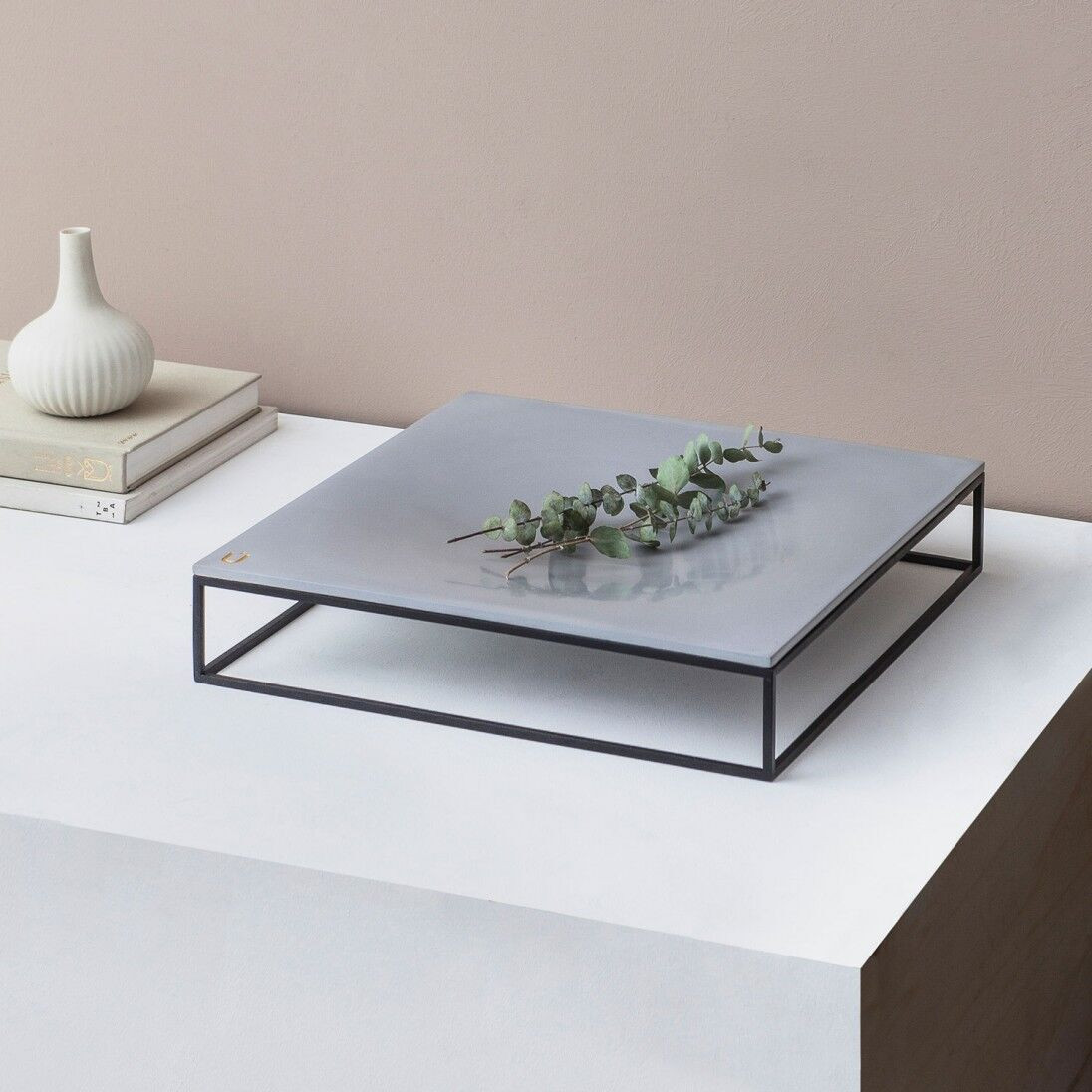 Mini MoonSquare Side Table   Black Steel Frame / Grey Table Top