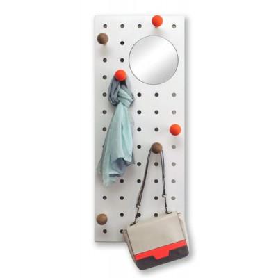 Peg-it-all Aufbewahrungspaneel mit Spiegel | Natur/Orange