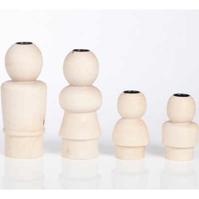 Family Candleholders Natural- set of 4