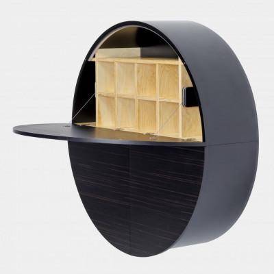 Desk Pill | Black / Dark Ebony Veneer