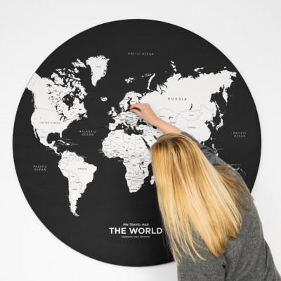 Steck-Weltkarte Travel | Schwarz