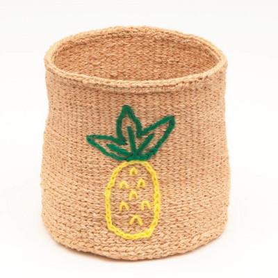 Embroidered Storage Basket   Pineapple