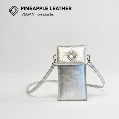 Handytasche - Ananasleder   Silber