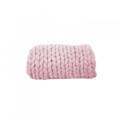 Chunky Wool Blanket | Pink