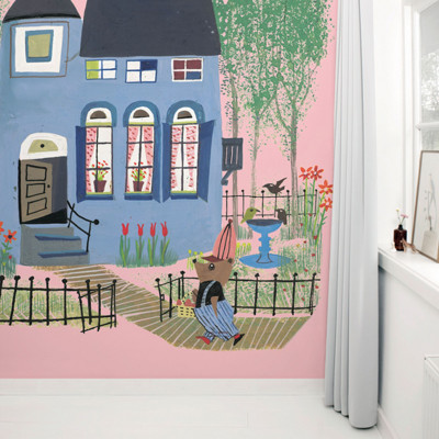 Wallpaper Stories | Bear With Blue House In Pink