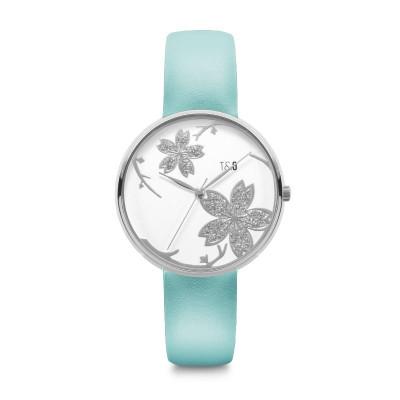 Frauen-Uhr Pilstil 36 Leder   Silver/W/eiß/Turquoise