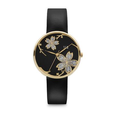 Frauen-Uhr Pilstil 36 Leder   Gold/Schwarz