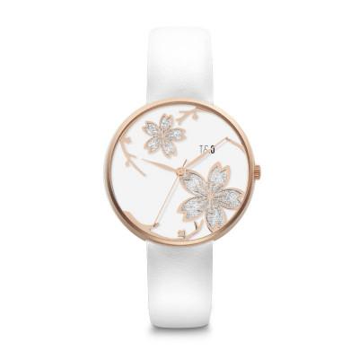 Frauen-Uhr Pilstil 36 Leder   Roségold/Weiß