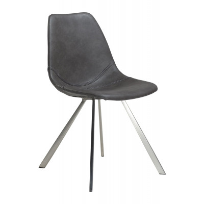 Chair Pitch Artificial Leather | Grey / Stainless Steel Legs