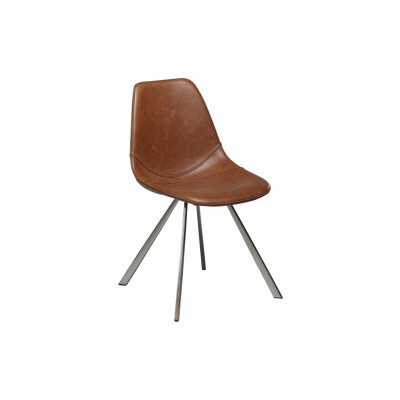 Chair Pitch Artificial Leather | Vintage Light Brown / Brushed Legs