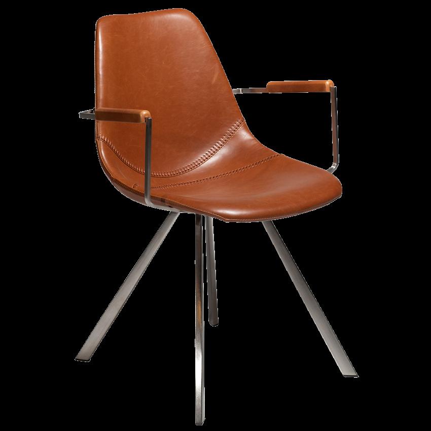 Sessel PITCH | Vintage hellbraunes Leder & Stahlbeine