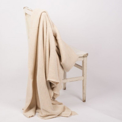 Evening Shadow Blanket |  Beige and White