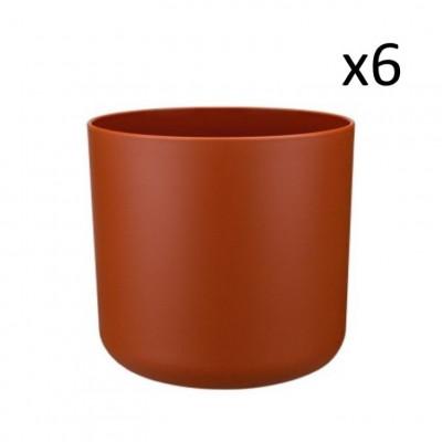 6er-Set Recycling-Pflanzentöpfe | Rotbraun