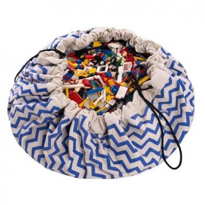 Spielzeug-Aufbewahrungstasche | Zickzack-Blau