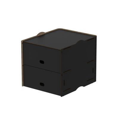 Einseitig zweifache Fächer Box Pop 30x36.5x30 cm | Schwarz
