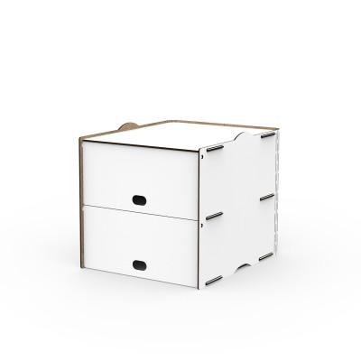 Einseitig zweifache Fächer Box Pop 30x36.5x30 cm | Weiß