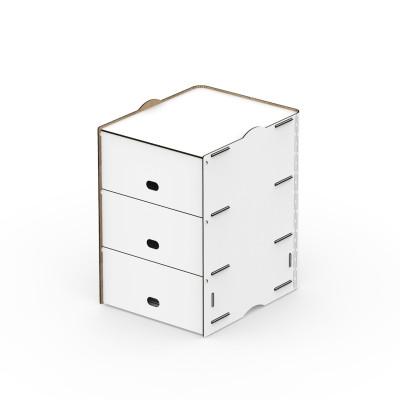 Einseitige dreifache Fächer Box POP 30x36.5x43.5 cm | Weiß
