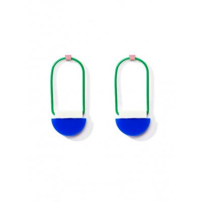 POP Earrings 1   Bright Blue, White, Dark Green, Rose Gold