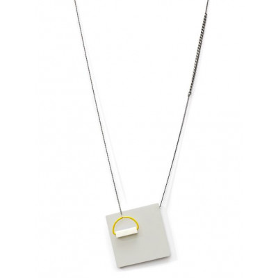 POP Necklace 2   Light Grey, White, Yellow, Silver