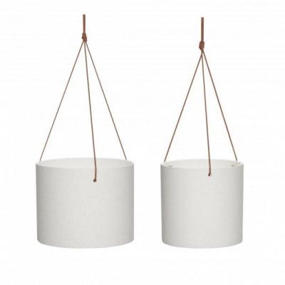 2-er Set Keramischer Töpfe mit Lederkordel | Weiß