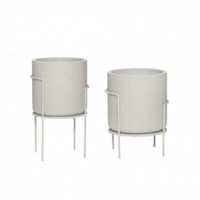 2-er Set Metall-Töpfe mit Beinen | Grau