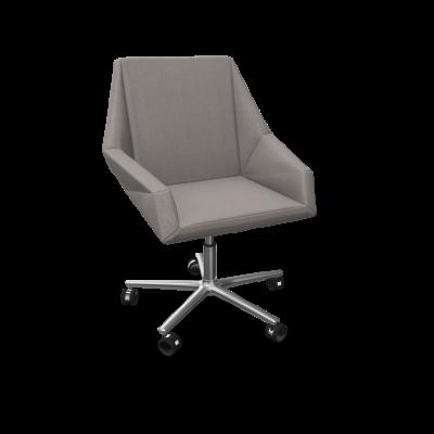 Sessel Prism Aluminiumfuß / verchromte Räder | Grau