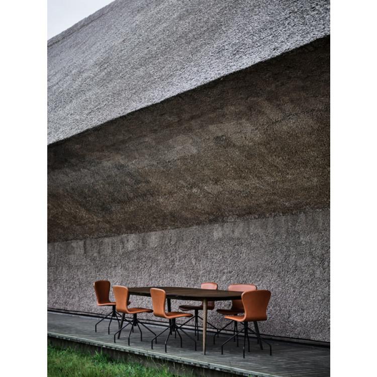 Playswing-Stuhl mit Armlehne Lederpolsterung | Cognac