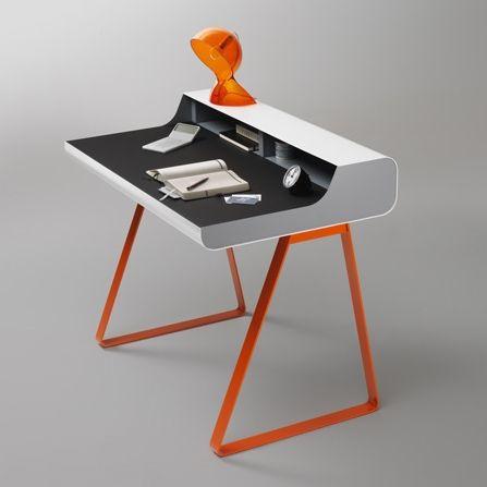 PS 10 Essenz Sekretärin Tisch   Weiß/Grau/Orange