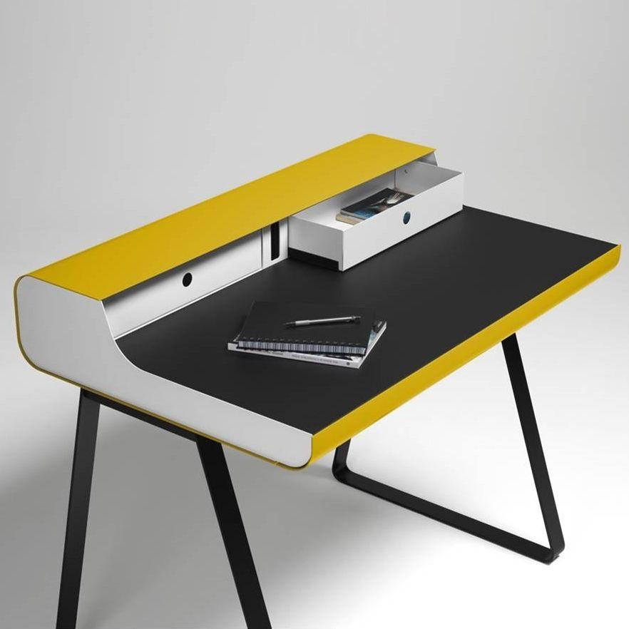 Schreibtisch PS 10 Essenz   Weiß/Schwarz/Gelb