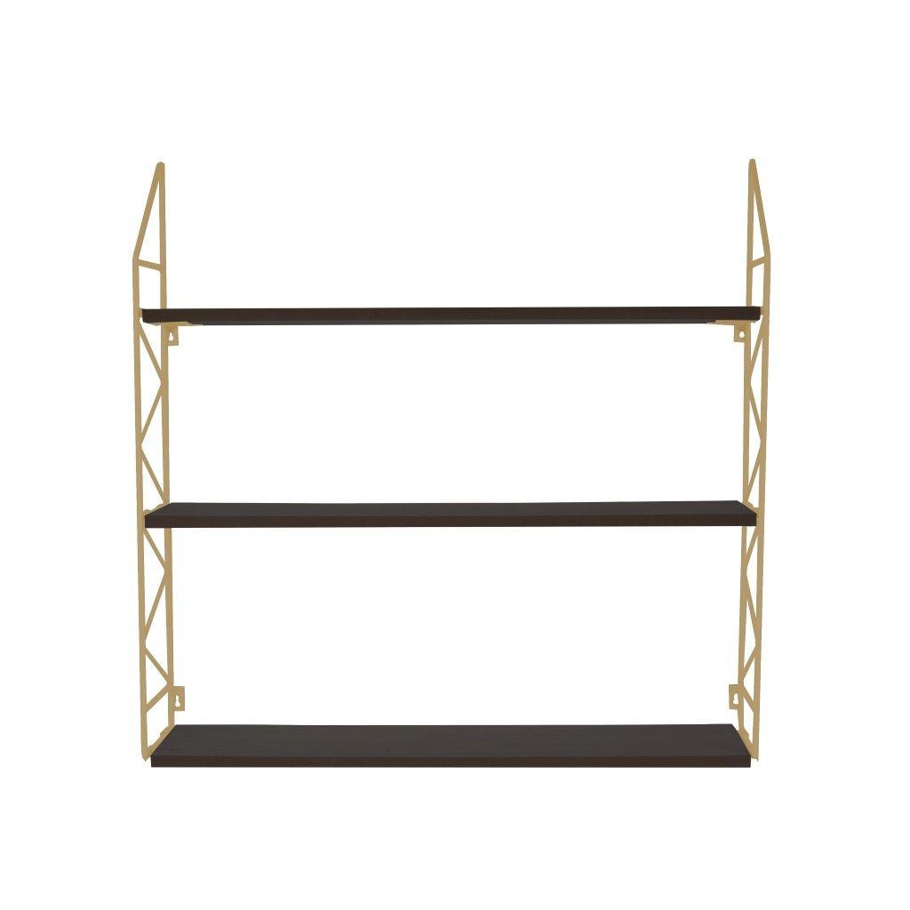 Wall Rack Zig Zag | Gold w. Black Shelves