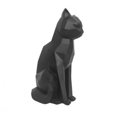 Origami-Statue | Sitzende Katze | Schwarz
