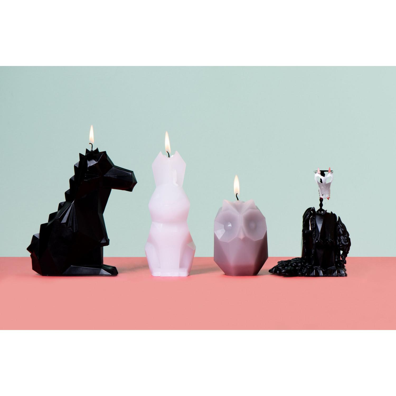 Kerze mit Skelett-Hase Hoppa | Pfirsich