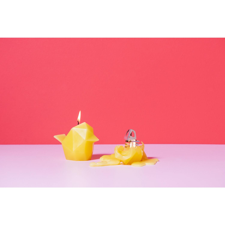 Kerze mit Skelettvogel Bibi | Gelb