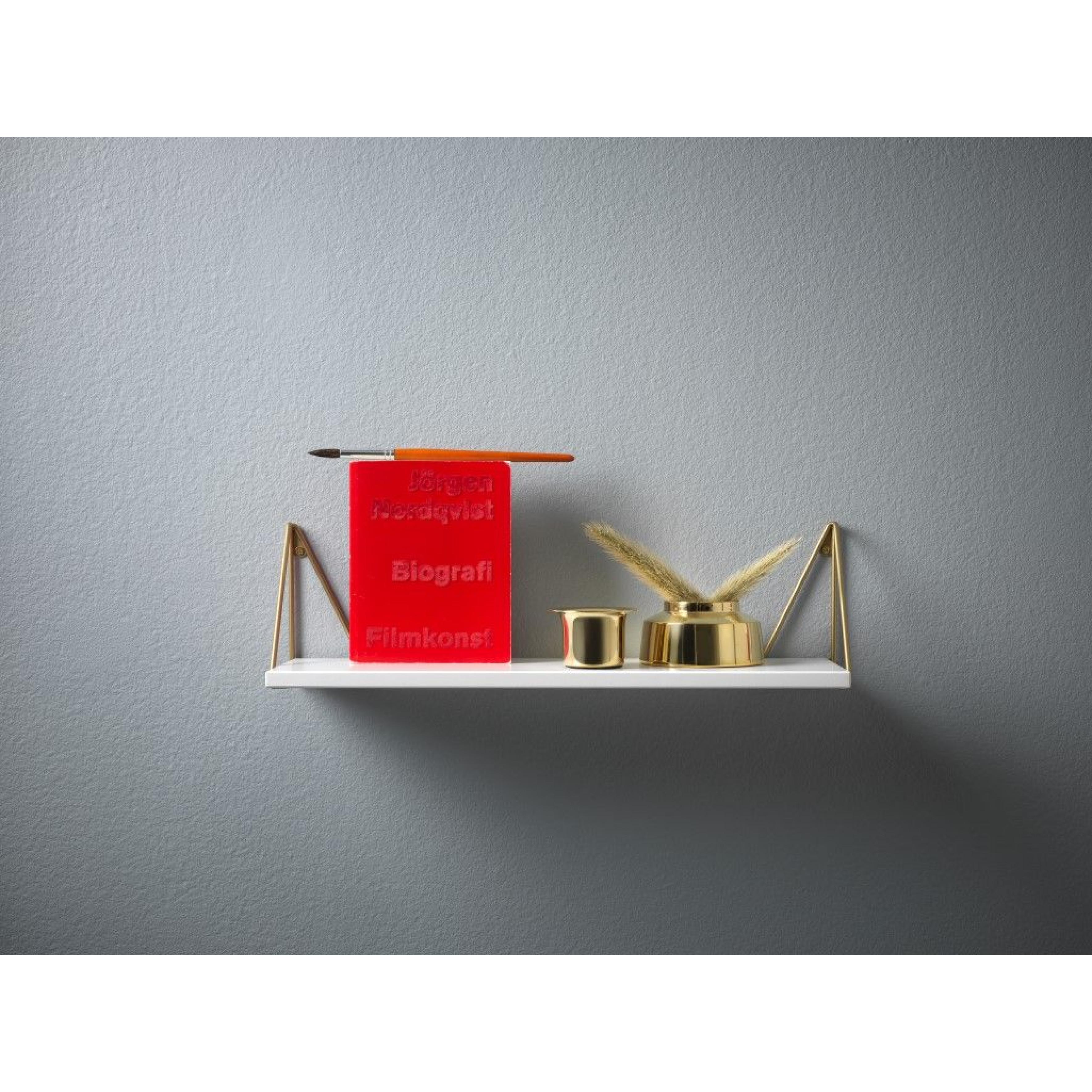 Shelf Pythagoras XS   White + Brass Brackets